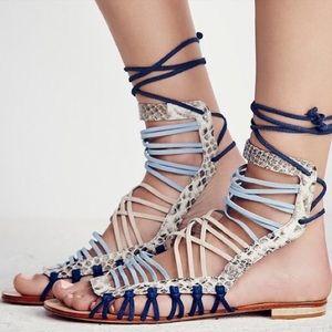 SCHUTZ Multicolor/Snake Lace-Up Sandals